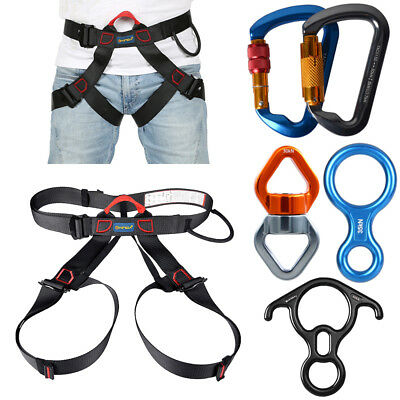 Outdoor Harness Rappelling Seat Sitting Belt + Carabiner Lock Hook Rock Climbing