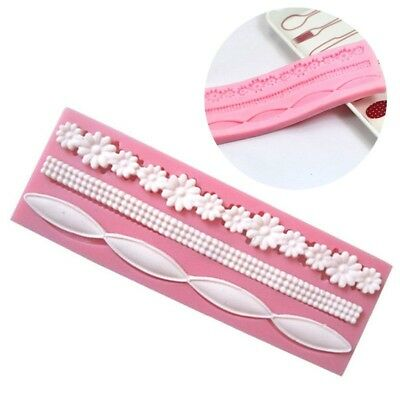 Lace Silicone Mold Mould Sugar Craft Fondant Mat Decorating Baking Tool #HF8