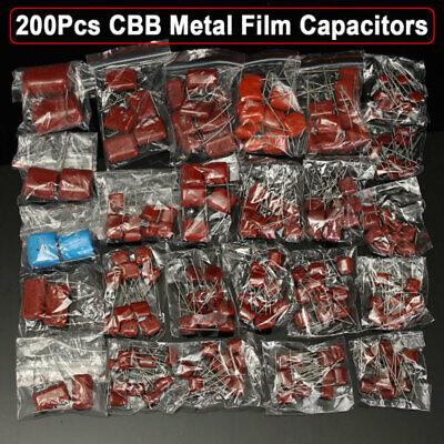 200pcs 25 Values 0.001uf2.2uf 630v Cbb Metal Film Capacitors Assortment Kit C