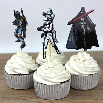 Star Wars Cupcake Toppers Picks X 24 Decorating Cup Cake Party Kids Darth Vader  - Kids Cupcake Wars