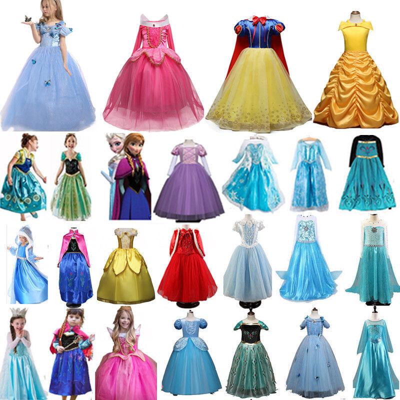 Kinder Mädchen Prinzessin Kleid Cosplay Kostüm Anna Elsa Schneewittchen Party