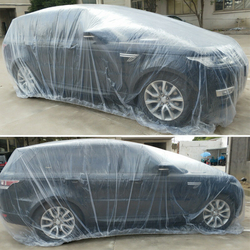 Clear Plastic Disposable Universal Car Covers Rain Dust