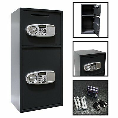 Digital Double Door Safe Depository Drop Box Gun Safes Cash Office Security Lock