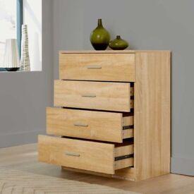 Chest of 4 Drawers Bedroom Furniture Cabinet Storage Bedside Drawer Organiser