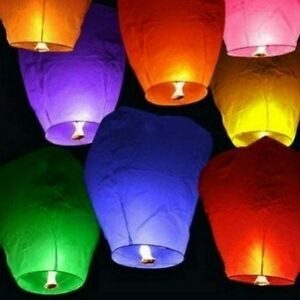Chinese lanterns  10 pack  Multi colours