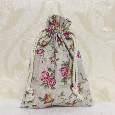 Gift Bag Organizer (Cotton Linen Drawstring Multi-purpose Bag Organizer Party Gift Rose Flower 817)