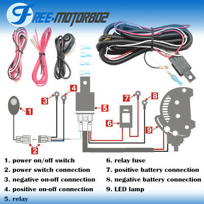 Universal LED Light Bar Fog Light Wiring Harness Kit 40A 12V Switch Relay Fuse ()