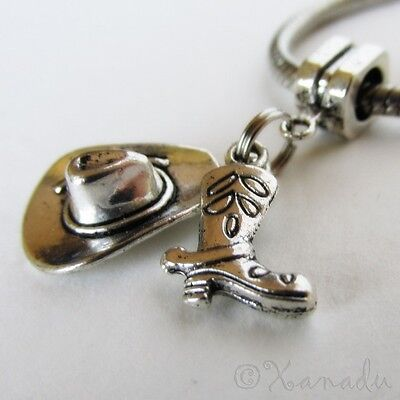 Cowboy Hat And Cowboy Boot European Charm Bead For Large Hole Charm Bracelets (Cowboy Hat And Boots)