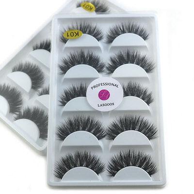 10 Pairs Luxurious 100% Real Mink 3D False Eyelashes Natural Wispy Eye Lashes