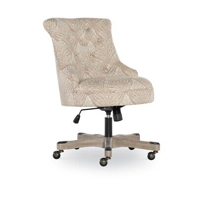Linon Sinclair Wood Upholstered Office Chair In Fern Beige