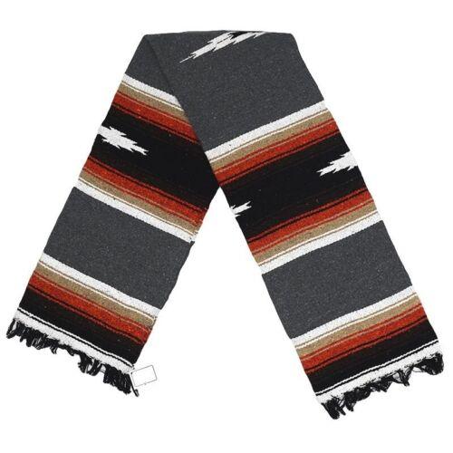 Mexican Yoga Blanket Charcoal Diamond Stripes Native Serape Boho Falsa Grey XL
