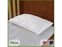 The wool room cot duvet, cot pillow and mattress protector