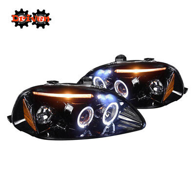 For  96-98 Civic Halo Projector Headlights LED DRL Black Housing Smoked Lens Civic Projector Headlights Black Housing
