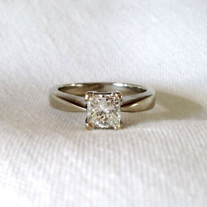 $13900 1ct Diamond Solitaire Princess 18KT White Gold Ring