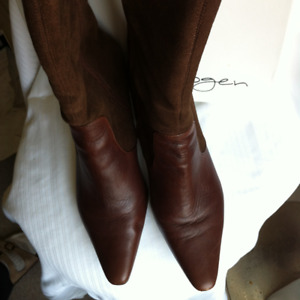 Ladies brown leather and suede boots
