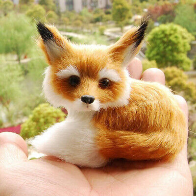 Realistic Stuffed Animal Soft Plush Kids Toy Sitting Fox Home Decor 9*7*8cm Decor Stuffed Animal