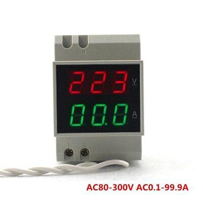Ac80-300v 100a Din-rail Dual Led Digital Voltage Ampere Meter Volt Amp 110v 220v