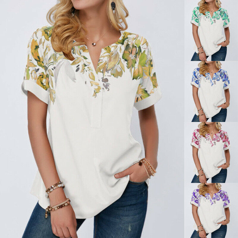 Womens Clothing Summer Tops Plus Size Floral Blouse V-neck Short-sleeved T-shirt