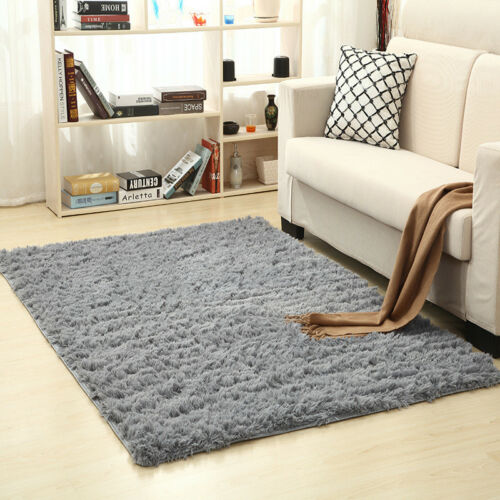 US Fluffy Anti-Skid Shaggy Area Rug Living Room Carpet Floor