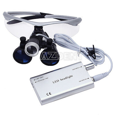 Dental Surgical Medical 3.5x-r Binocular Loupe With Led Head Light Lamp Silver