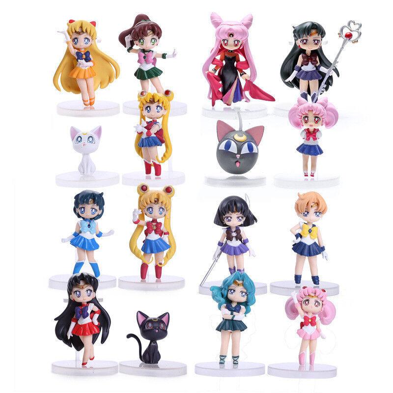 Anime Sailor Moon Mars Mercury Jupiter Venus Chibi Mini PVC Figure 16pcs/set N B
