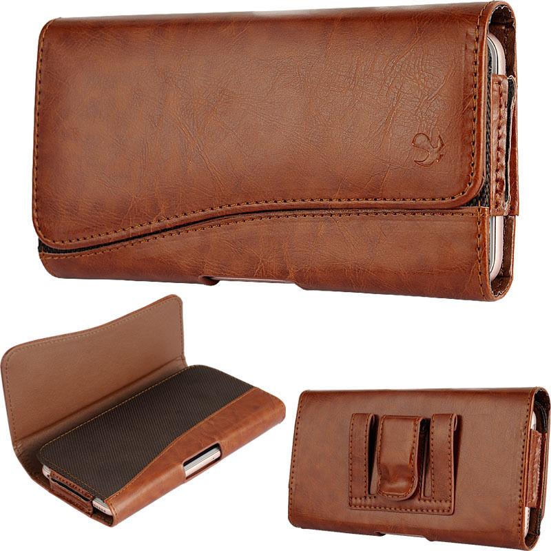 tan leather sleeve pouch wallet case clip