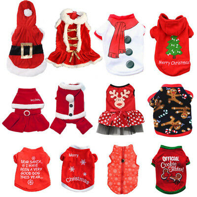 Pet Dog Puppy Santa Shirt Christmas Clothes Costumes Warm Jacket Coat Apparel (Doggy Christmas)