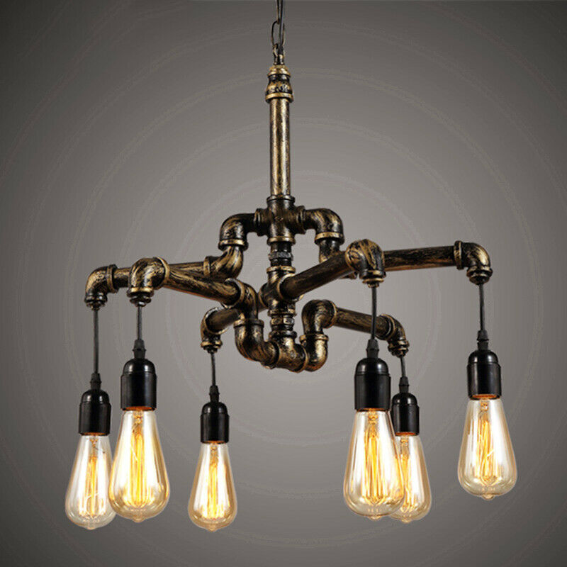 Details About Pipe Ceiling Fixture Steampunk Chandelier Edison Multi Light Lighting