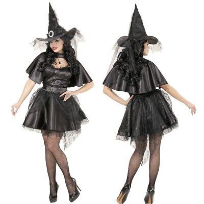 Heisse Hexe Zauberin Magierin Halloween Damen Kostüm schwarz kurz Gothic XS-L
