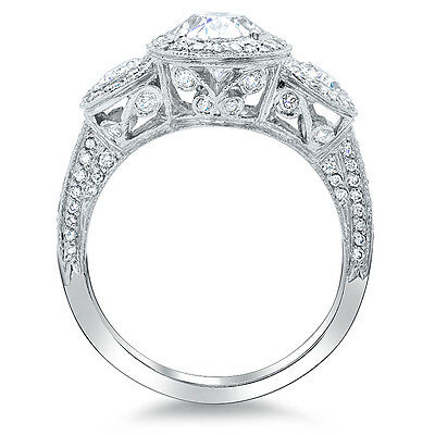 2.25ct Natural Oval Vintage Halo Diamond Engagement 14K 18K Plat Ring SI1-H GIA 2