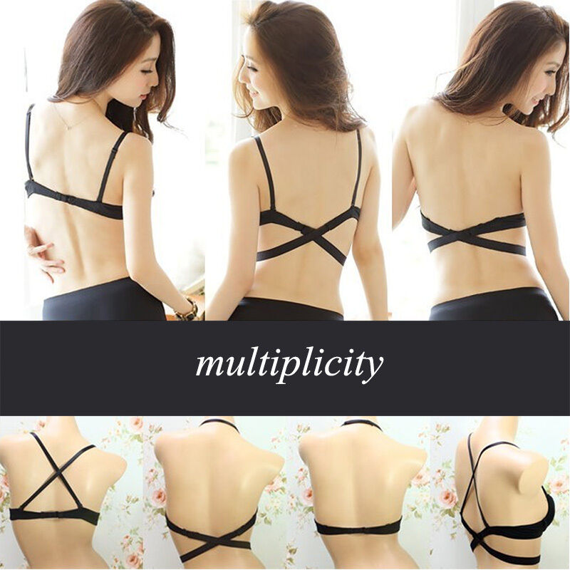 bab716e83e Women Sexy Deep V Low Cut Push Up Seamless Bra Backless Invisible Plunge Bra