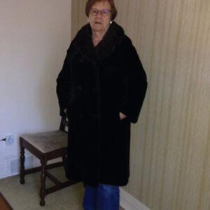vintage black fur coat with black mink collar and cuffs