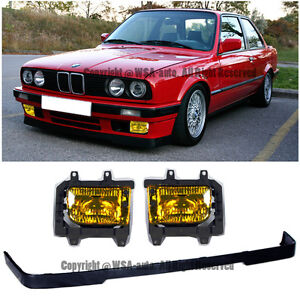 85-91 E30 OE Front Lip & Fog Lights Yellow Kit BMW 3-Series IS LOWER VALANCE PP