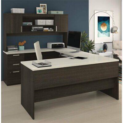 Bestar Ridgeley U-shaped Desk In Dark Chocolate And White Chocolate