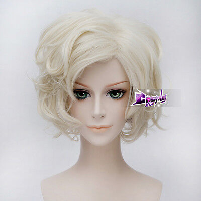 Costume Vogue Light Blond 30CM Short Wavy Synthetic Cosplay Wig +Cap