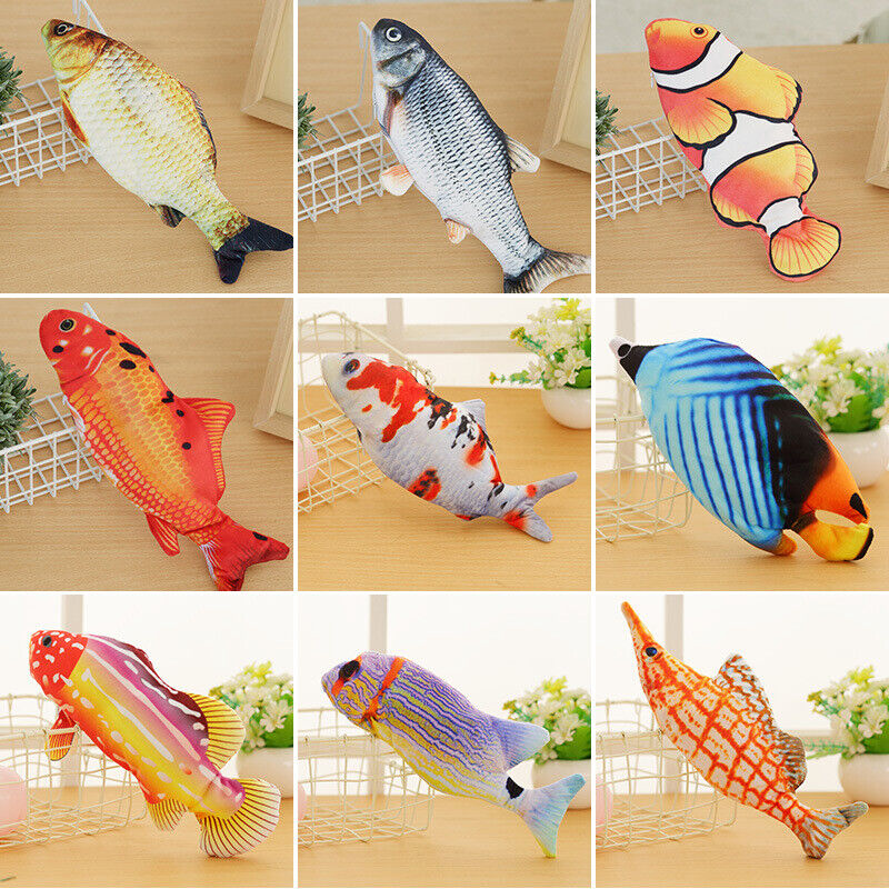 Electric Moving Cat Kicker Fish Toy Realistic Flopping Wiggle Interactive Fish