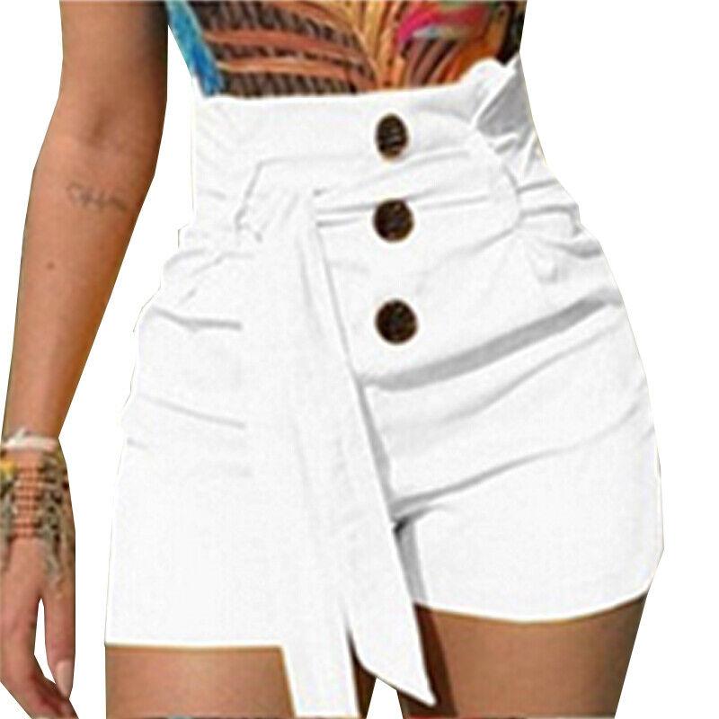 Damens Hohe Taille Kurz Hose Hotpants Sommer Shorts Freizeit Übergröße Gr.34-48