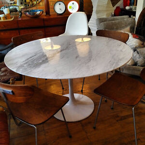 Marble Tulip Dining Tables And Teak Chairs