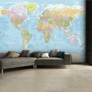 World map wallpaper ebay world map wallpaper mural sticker 124x915 gumiabroncs Choice Image