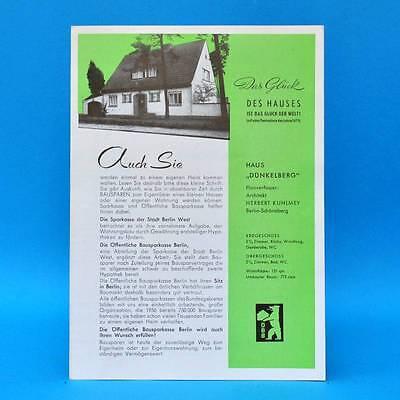 Bausparkasse Berlin Haus Dünkelberg + Haus für jedermann 1959 | Werbung Prospekt