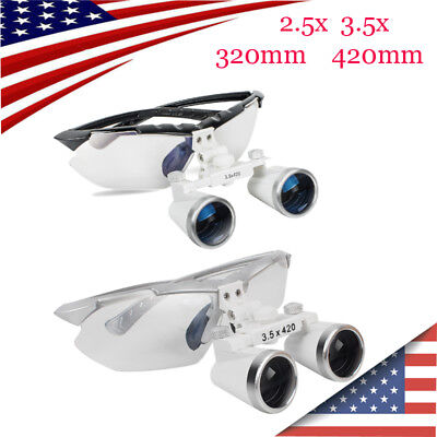 Dental Surgical Medical Binocular Loupes 2.5x 3.5x 320mm 420mm Magnifier Glasses