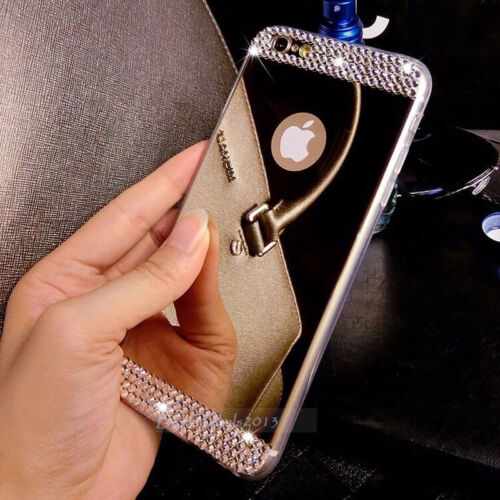 Ultra-thin Mirror Crystal Bling TPU Soft Case Back Cover Skin For iPhone/Samsung