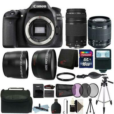Canon EOS 80D 24.2MP Wifi DSLR Camera + 18-55mm IS STM + 75-300mm Lens Top Kit
