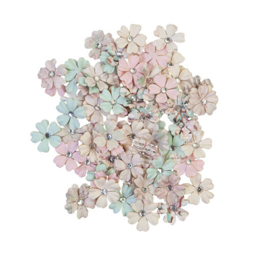 Prima Sugar Cookie WHITE CHRISTMAS Paper Flowers with Gem Center 80 pcs #648565