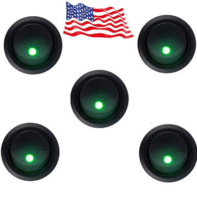 5x Round Rocker Dot Toggle Spst Switch Green Led On-off Control 12v Hotsystem Us