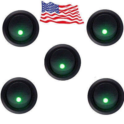 5x Round Rocker Dot Toggle SPST Switch Green LED On-Off Control 12v HOTSYSTEM US