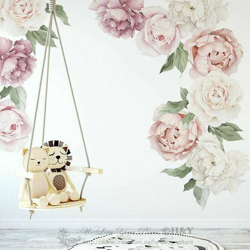 Home Decoration - Peony Rose Individual Wall Decal Home Nursery Decor Sticker Kids Art Mural Gift