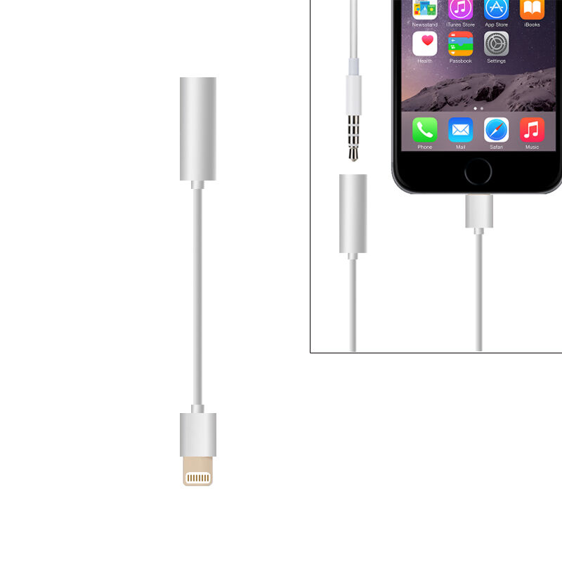 metal to jack audio music adapter cable for iphone 7. Black Bedroom Furniture Sets. Home Design Ideas