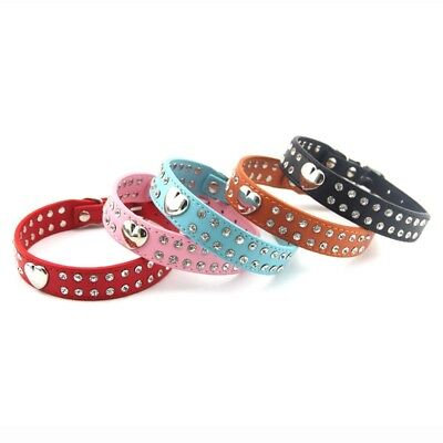 Pet Dog Puppy Adjustable Love Heart Double Row Crystal Rhinestone Leather Collar