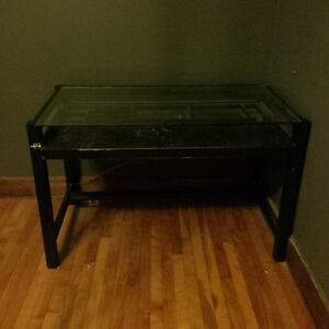 solid wood and glass desk